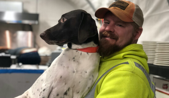 Cody Pink  with his German shorthaired pointer, Teto